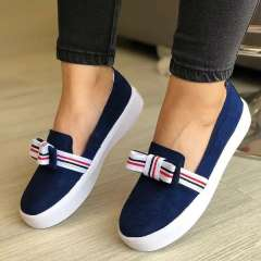 Sheilawears Women Comfy Fabric Canvas Bow Sneakers