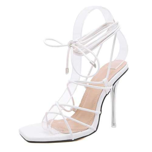 Sheilawears Hollow Lace-up Square-toe High Heeled Sandals