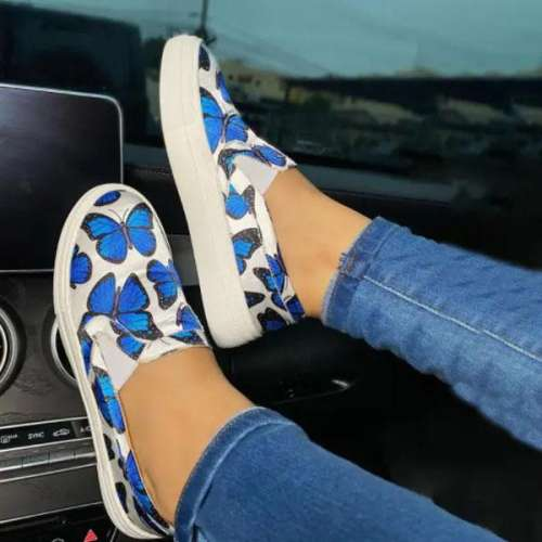 Sheilaweas Women Fashion Butterfly Print Comfortable Casual Sneakers