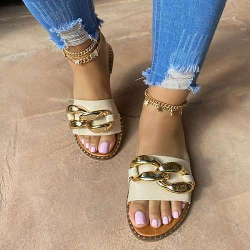 Sheilawears Women's  Simple Wide Band And Gold Chain Sandals