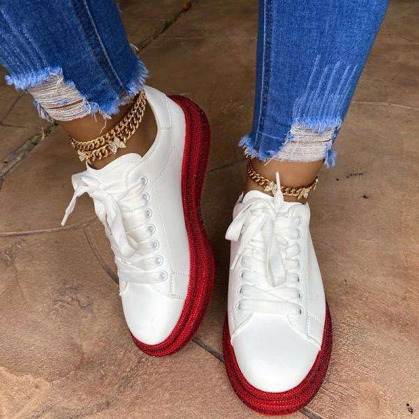 Sheilawears Women Fashion Rhinestone Sneakers