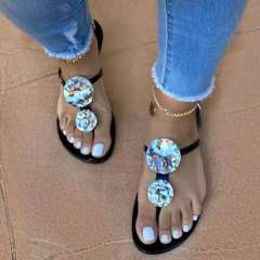 Sheilawears Women Large Shining Rhinestone Open Toe Sandals