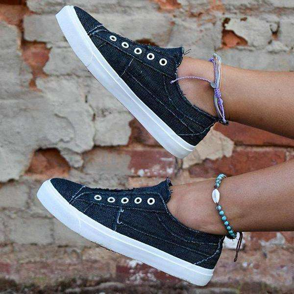 Sheialwears Women Casual Comfy Canvas Flat Slip On Sneakers