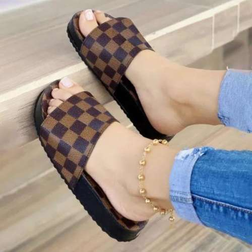 Sheilawears Women Fashion Plaid Comfortable Casual Slippers