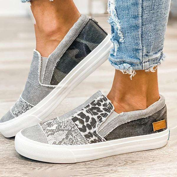 Sheilawears Pieced Raw Edge Animal Print Canvas Slip-On Flat Sneakers