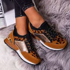 Sheilawears Women Stylish Faux Suede Leopard Lace Up Platform Sneakers