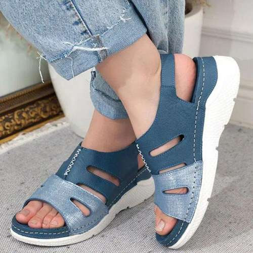 Sheilawears Ladies Comfy Casual Hollow out Wedge Sandals