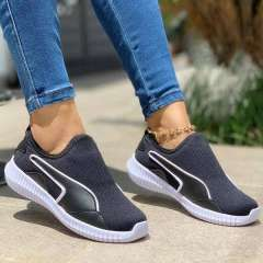 Women's Comfy Fly Knit Fabric Slip On Sneakers