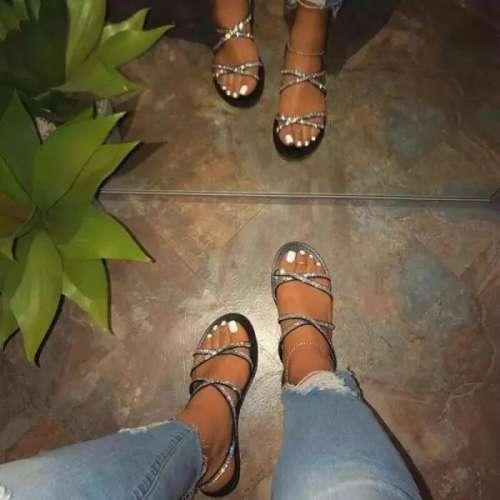 Sheilawears Women's Summer Rhinestone Cross-Strap Flat Sandals
