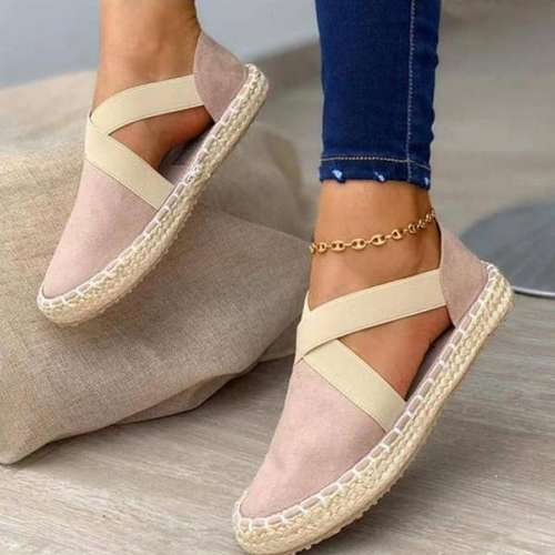 Sheilawears Women Casual Comfy Canvas PureElastic Band Summer Flat Sandals