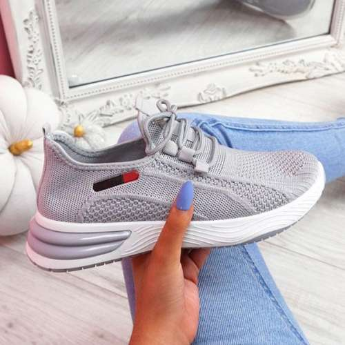 Sheilawears Women Fashion Flying Woven Fabric Lace-Up Sneakers