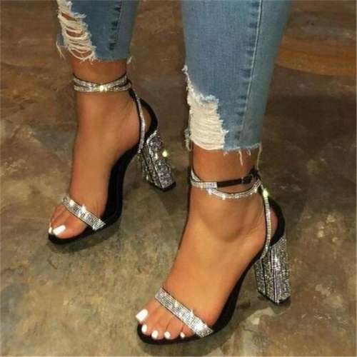 Sheilawears Rhinestone Line-Style Buckle Ankle Strap Chunky Heel Sandals