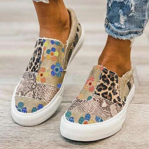 Sheilawears Women Casual Comfy Canvas Printing Flat Sneakers