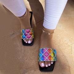 Sheilawears Stylish Rainbow Flat Sandals