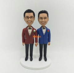 Same Sex wedding cake topper wedding topper same sex bobblehead Gay wedding cake topper gay wedding Bobble head custom cake topper
