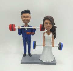 Weight Lifting cake topper Custom cake topper wedding figurine custom bobble head personalized wedding keepsake wedding cake topper