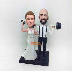 Dumbbell cake topper Weight lifting wedding cake topper Custom cake topper wedding figurine custom bobble head personalized wedding topper