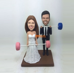 Cake Topper Wedding Cake Topper bobble head Custom cake topper Wedding topper bobblehead Cake toppers Weight lifting Cake toppers