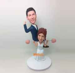 Weight Lifting Wedding Cake Topper superman cake topper wedding topper Custom bobblehead Cake Toppers for wedding custom cake topper