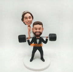 Weight Lifting Wedding cake topper wedding topper Custom cake topper wedding figurine custom bobble head personalized wedding keepsake custom figurine