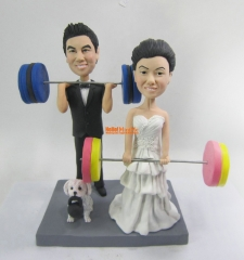 Weight lifting wedding Cake Topper custom bobble head custom cake topper custom figurine Personalized wedding gift Wedding topper