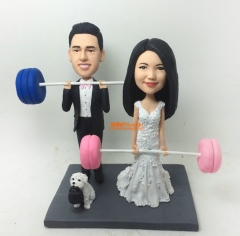 Weight lifting Cake Toppers for wedding bobble head custom cake topper custom bobblehead Personalized wedding gift Wedding cake topper