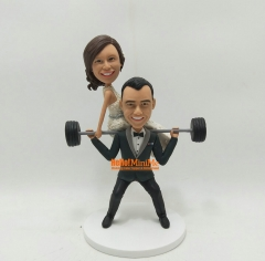 Weight Lifting Wedding cake topper wedding topper Custom cake topper wedding figurine custom bobble head personalized wedding custom figurine