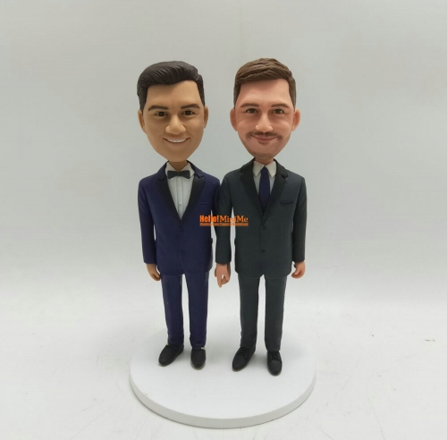 Custom bobble head Same sex wedding cake topper Gay bobble head Gay wedding cake topper Custom figurine
