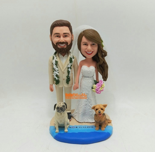 Beach Wedding cake topper wedding topper bobble head Custom cake toppers for wedding keepsake wedding figurine Personalized wedding gift