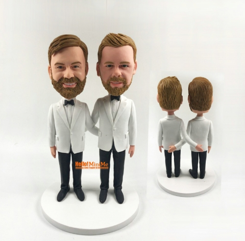 custom bobble head Custom figurine Same sex wedding cake topper Gay bobble head Gay wedding cake topper