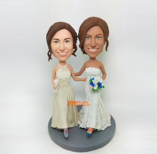 Lesbian bobblehead Lesbian wedding cake topper custom cake topper custom bobble head custom figurine Same sex wedding topper