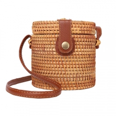 Handwoven Round Rattan Bag Shoulder Leather Straps