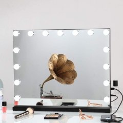 Large Vanity Mirror with Lights and Blutooth Speaker, Hollywood Lighted Makeup Mirror with 15 Dimmable LED Bulbs for Dressing Room & Bedroom, Tabletop