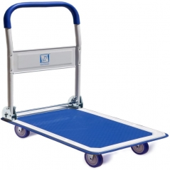 Push Cart Dolly, Moving Platform Hand Truck, Foldable for Easy Storage and 360 Degree Swivel Wheels with 660lb Weight Capacity, Blue Color