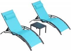 Chaise Lounge Sets 3 Pieces Outdoor Lounge Chair Sunbathing Chair with Headrest and Table for All Weather, Turquoise Blue