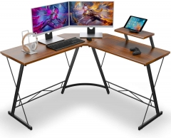 "L-Shaped Desk 50.8"" Computer Corner Desk, Home Gaming Desk, Office Writing Workstation with Large Monitor Stand, Space-Saving, Easy to Assemble, (Vint"