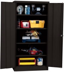 "Lee Black Steel SnapIt Storage Cabinet, 4 Adjustable Shelves, 72"" Height x 36"" Width x 18"" Depth"