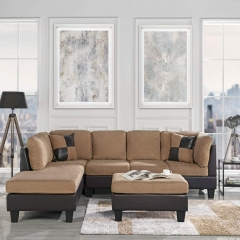 "Modern 3-Piece Microfiber and Faux Leather Sofa and Ottoman Set, 102"" W"