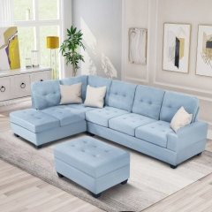 Sectional Sofa Microfiber with Chaise Lounge Storage Ottoman and Cup Holders