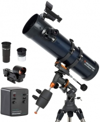 AstroMaster 130EQ-MD Newtonian Telescope - Reflector Telescope for Beginners - Fully-Coated Glass Optics - Adjustable-Height Tripod - BONUS Astronomy