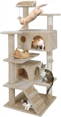 Pet Republic 53 Inches Multi-Level Cat Tree Stand House Furniture Kittens Activity Tower with Scratching Posts Kitty Pet Play House