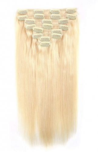 Straight 613# Bleach Blonde Clip in Hair Extensions 120gram