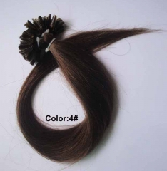 Straight 4# Medium Brown Nail-tip Hair Extensions 100Strands