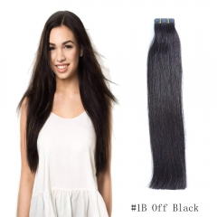 Straight 1b# Off/Nature Black Tape Hair Extensions 20PCS