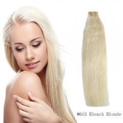 Straight 613# Bleach Blonde Tape Hair Extensions 20PCS