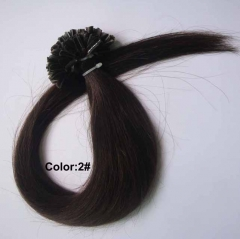 Straight 2# Dark Brown Nail-tip Hair Extensions 100Strands