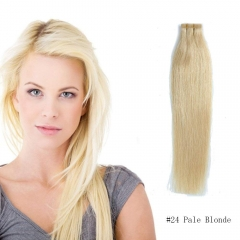 Straight 24# Pale Blonde Tape Hair Extensions 20PCS