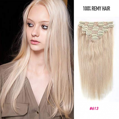 Straight 613# Bleach Blonde Clip in Hair Extensions 100gram