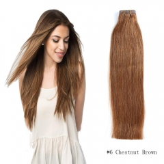 Straight 6# Medium Ash Brown Tape Hair Extensions 20PCS