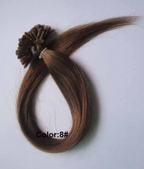 Straight 8# Chesnut Brown Nail-tip Hair Extensions 100Strands